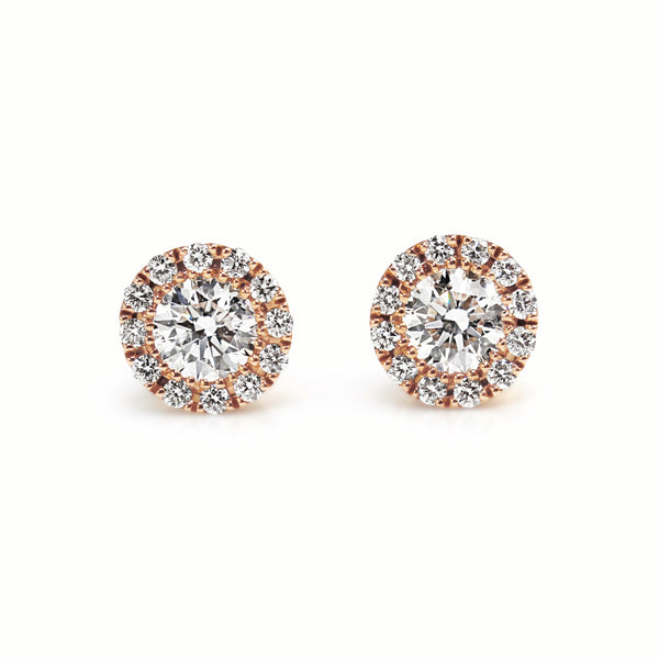 18ct Rose Gold Diamond Halo Stud Earrings