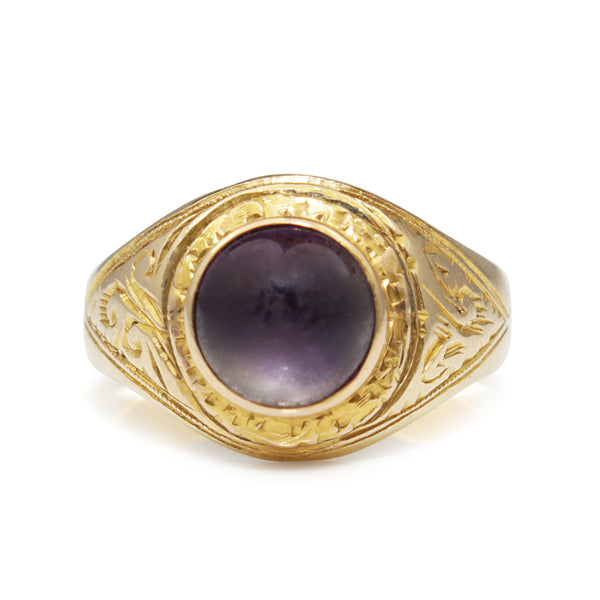 14ct Yellow Gold Antique Amethyst Cabochon Ring