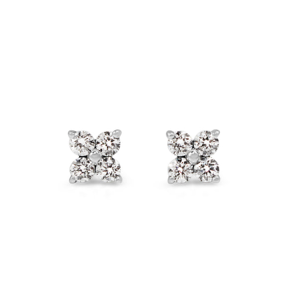 9ct White Gold Fine Diamond Clover Style Studs