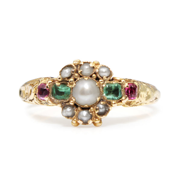 15ct Yellow Gold Antique Emerald, Pearl and Ruby Suffragette Ring