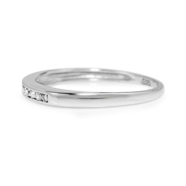9ct White Gold Fine Channel Set Diamond Band