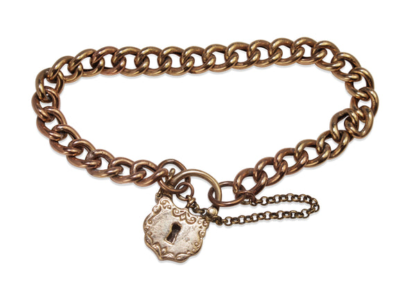 9ct Rose Gold Antique Curb Link Bracelet with Padlock Clasp