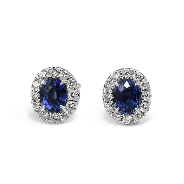 18ct White Gold Sapphire and Diamond Oval Halo Earrings