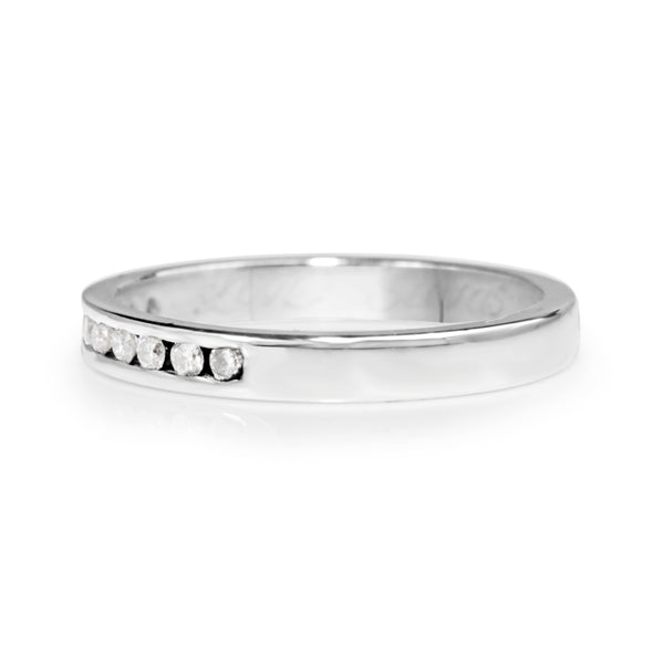18ct White Gold Channel Set Diamond Band