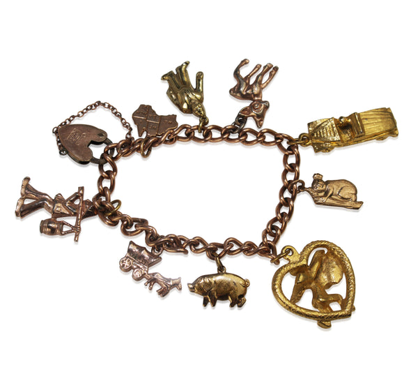 9ct Rose Gold Lined and Plated Estate Charm Bracelet with 2 x 9ct Charms