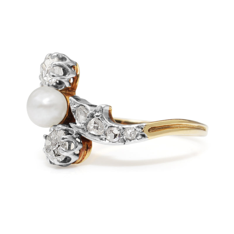 18ct Yellow and White Gold Antique Pearl and Diamond 'Moi et Toi' Ring