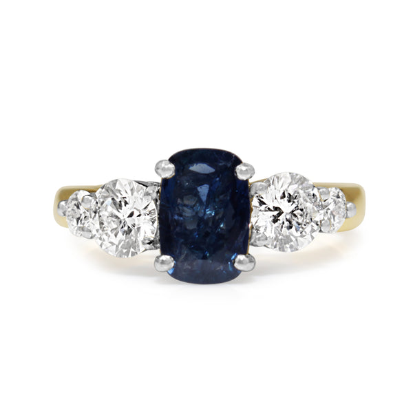 18ct Yellow and White Gold Sapphire and Diamond 5 Stone