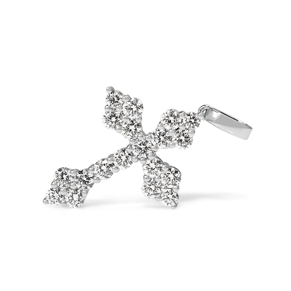 18ct White Gold Diamond Cluster Cross Necklace