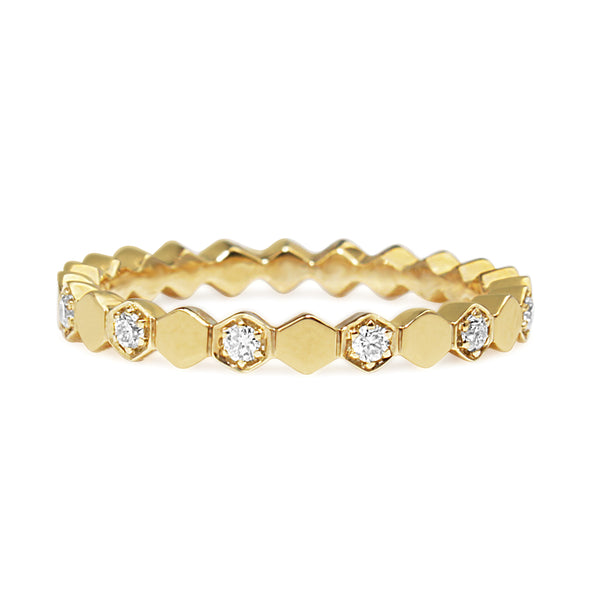 9ct Yellow Gold 'Honeycomb' Diamond Ring