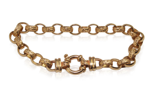 9ct Yellow Gold 'Day and Night' Etched Belcher Link Bracelet