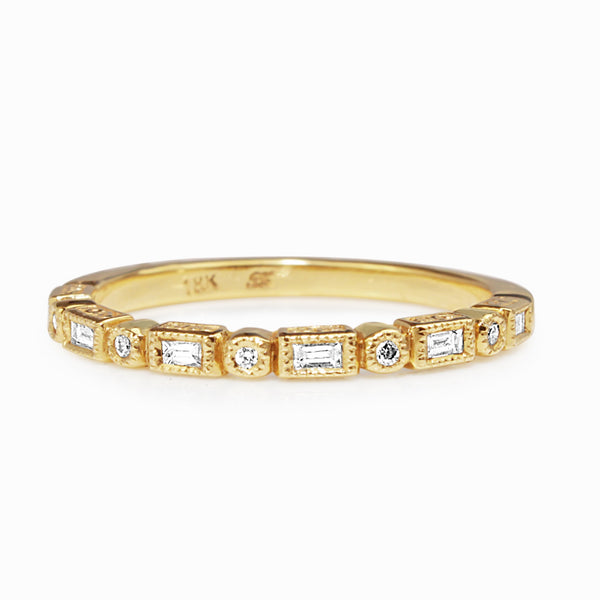 18ct Yellow Gold Deco Style Diamond Band
