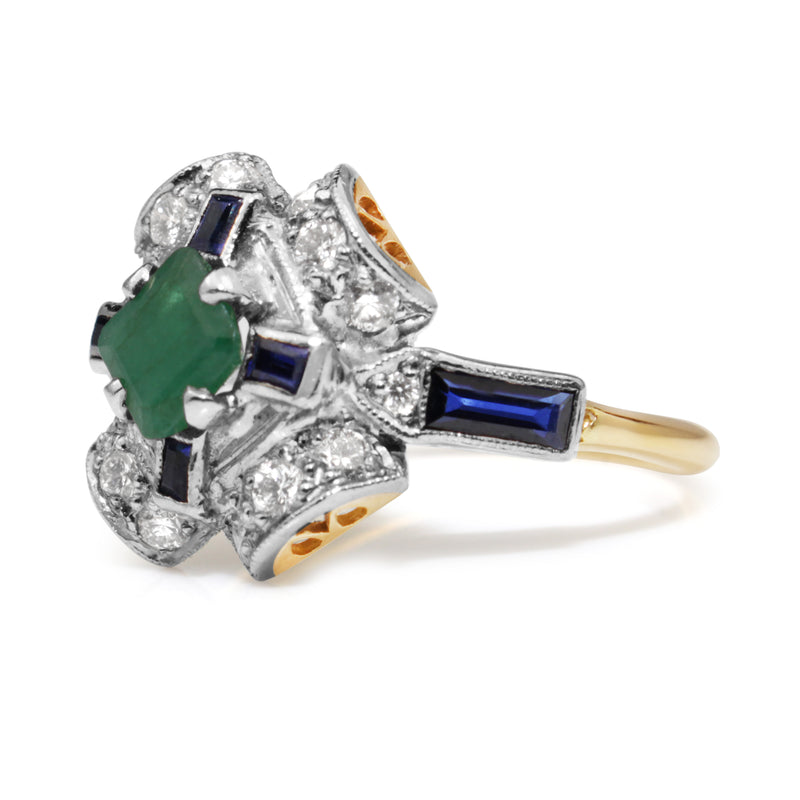 18ct Yellow and White Gold Diamond, Emerald and Sapphire Deco Style Ring