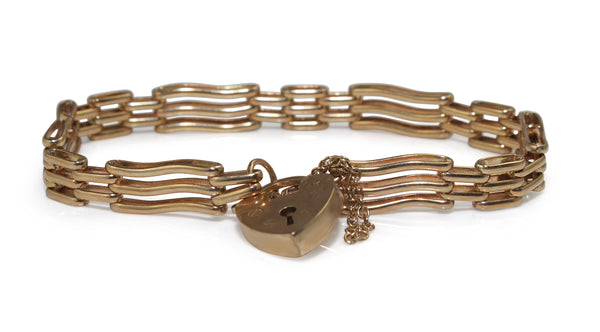 9ct Yellow Gold Estate Gate Link Bracelet