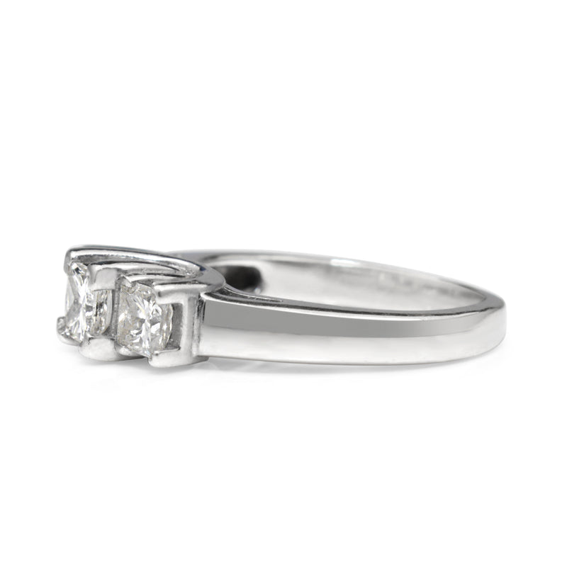 14ct White Gold 3 Stone Princess Cut Diamond Ring