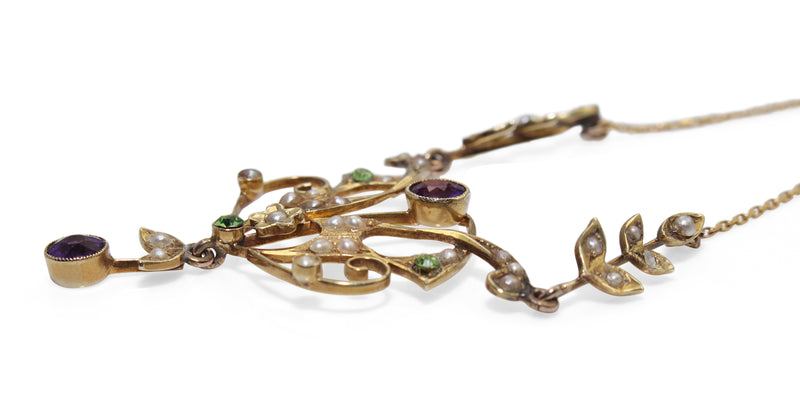 14ct Yellow Gold Antique Pearl, Amethyst and Peridot Suffragette Necklace