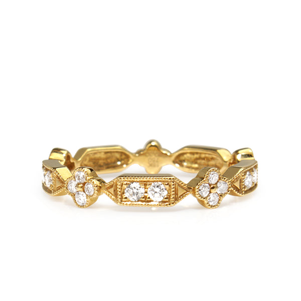 18ct Yellow Gold Vintage Style Stacking Band