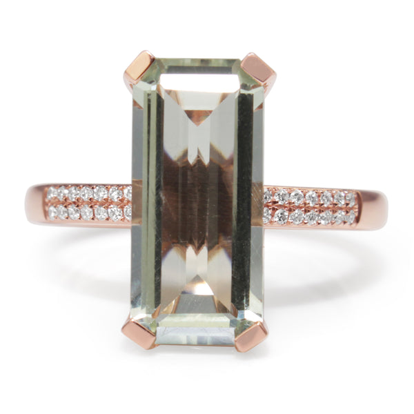 9ct Rose Gold Green Amethyst and Diamond Ring