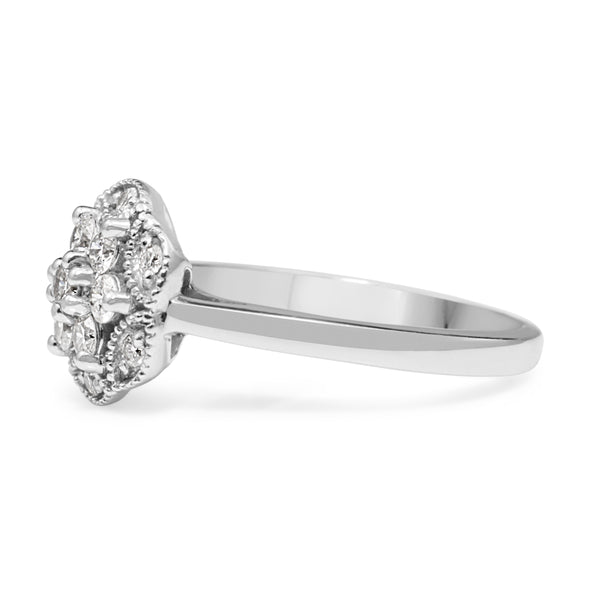 9ct White Gold Floral Diamond Halo Ring