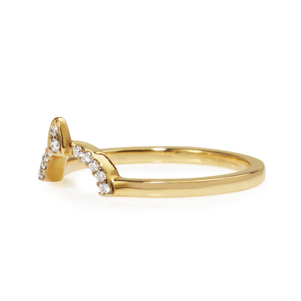 18ct Yellow Gold Curved 'Tiara' Style Diamond Band