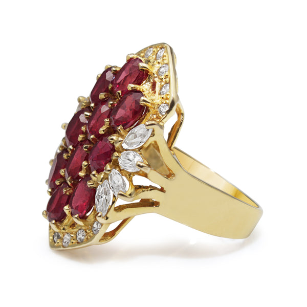 18ct Yellow Gold Estate Ruby and Cubic Zirconia Ring