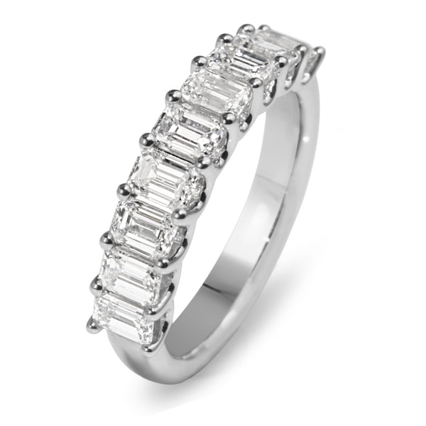 18ct White Gold Emerald Cut Diamond Band