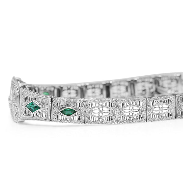 14ct White Gold Art Deco Synthetic Emerald and Old Cut Diamond Bracelet