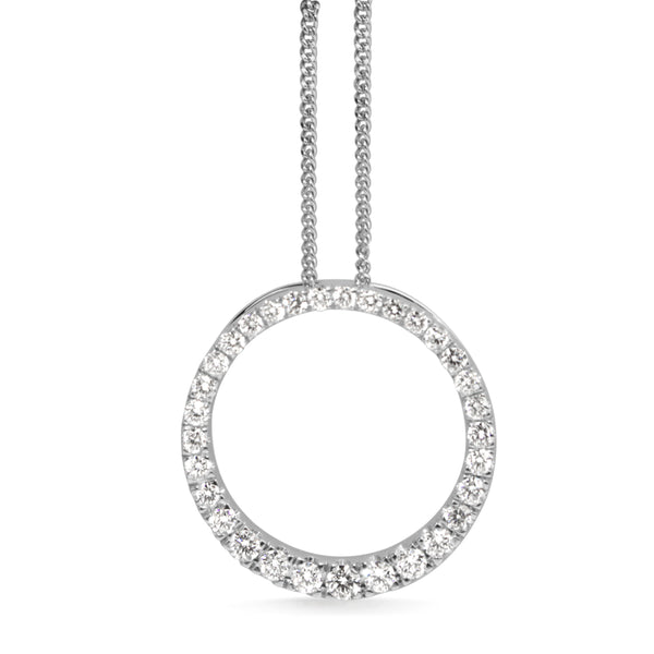 9ct White Gold Graduated Circle of Life Diamond Necklace