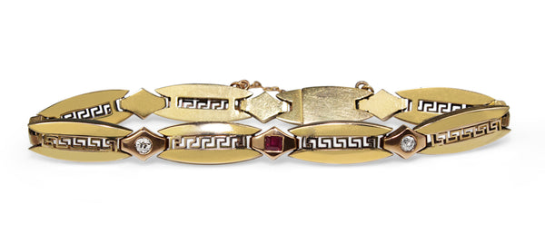 14ct Yellow Gold Vintage 'Greek Motif' Ruby and Old Cut Diamond Bracelet