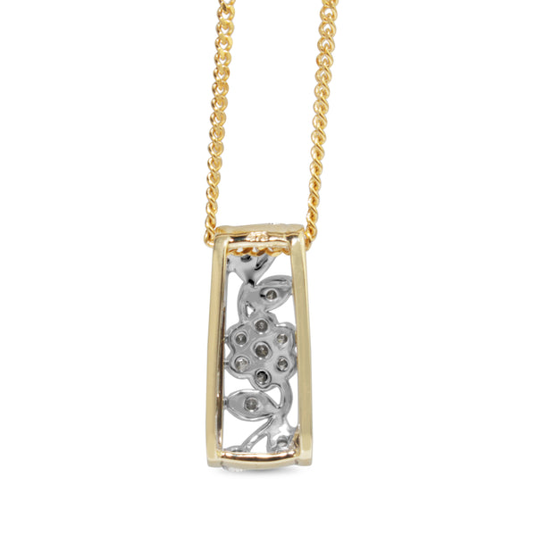 9ct Yellow and White Gold Diamond Daisy Necklace