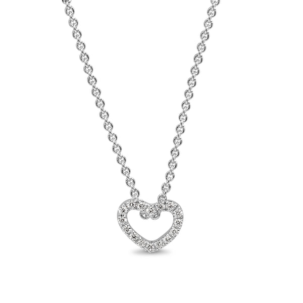 9ct White Gold Small Diamond Heart Necklace