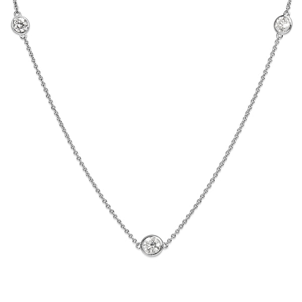 18ct White Gold Bezel Set Diamond Chain / Necklace