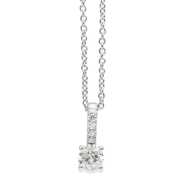 18ct White Gold Diamond Solitaire Necklace