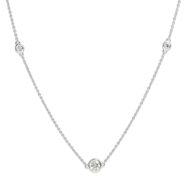 18ct White Gold Graduated Bezel Set Diamond Chain / Necklace