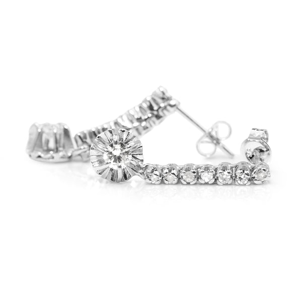 Palladium Single Cut Diamond Drop Earrings
