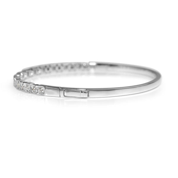 9ct White Gold Deco Style Diamond Bangle