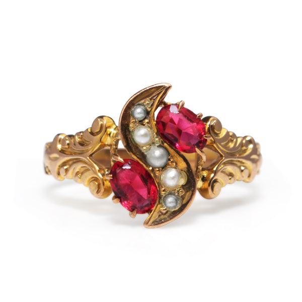 10ct Yellow Gold Antique Paste and Pearl Ring
