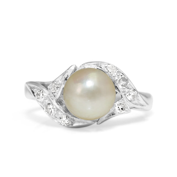Palladium Vintage Cultured Pearl and Diamond Ring