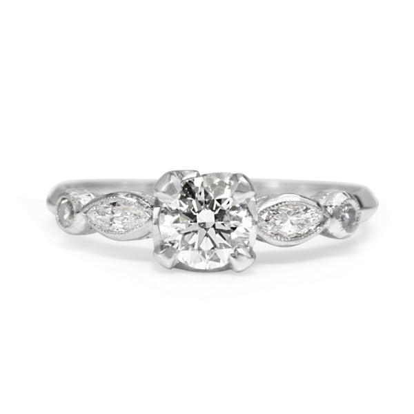 Platinum Vintage Style Diamond Solitaire Ring