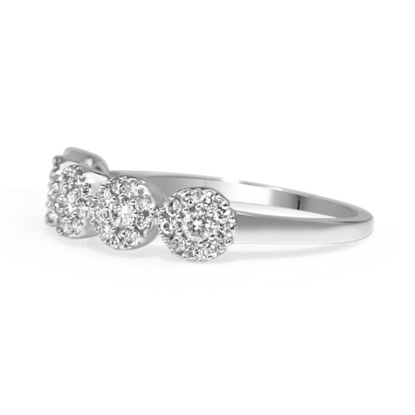 9ct White Gold 5 x Diamond Cluster Ring
