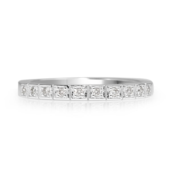 9ct White Gold Fine Vintage Style Diamond Band