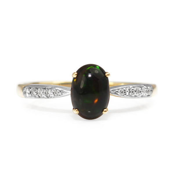 9ct Yellow and White Gold Black Opal and Diamond Ring
