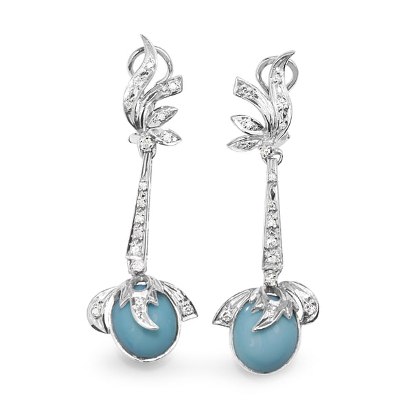 Palladium Art Deco Diamond and Turquoise Drop Earrings