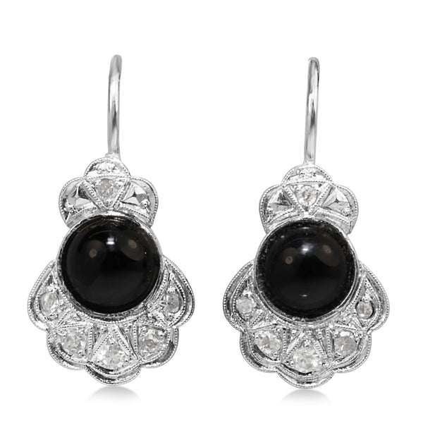 Platinum Art Deco Onyx and Diamond Earrings