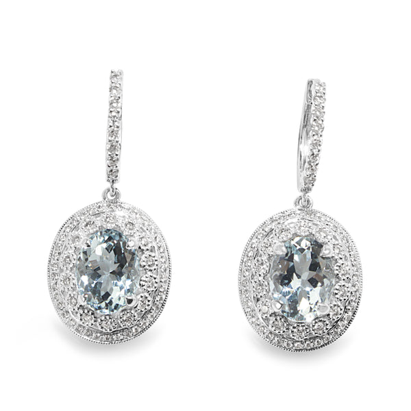 18ct White Gold Aquamarine and Diamond Vintage Style Earrings