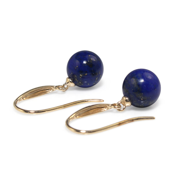 9ct Yellow Gold Lapis Drop Earrings