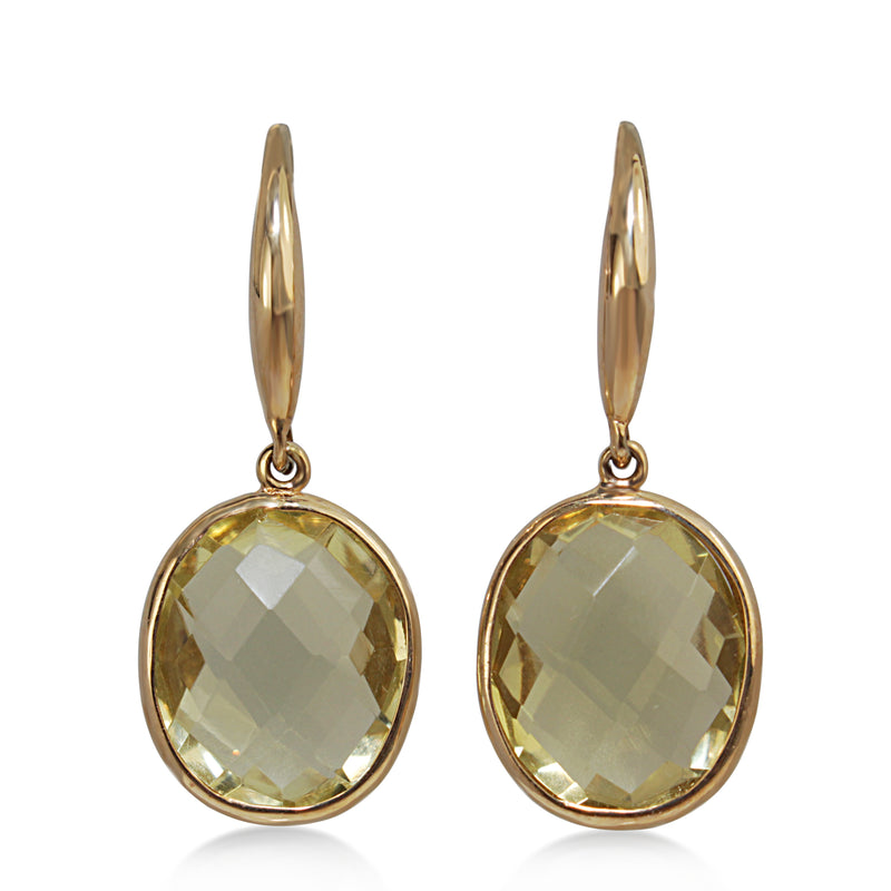 9ct Yellow Gold Faceted Quartz Earrings