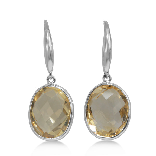 9ct White Gold Faceted Citrine Earrings