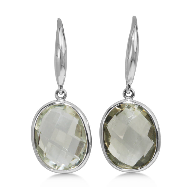 9ct White Gold Faceted Green Amethyst Earrings