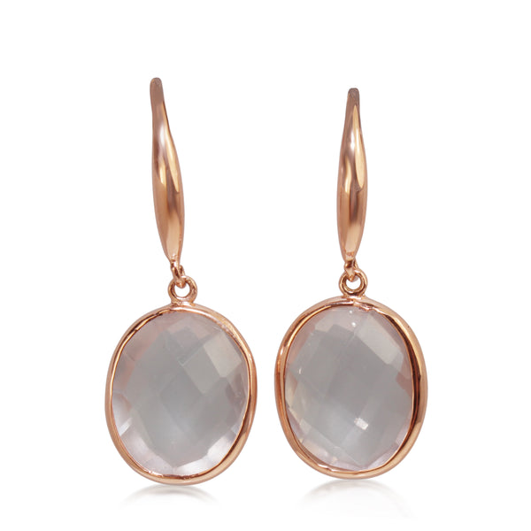 9ct Rose Gold Faceted Rose Quartz Earrings