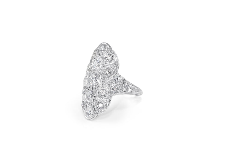 Platinum Art Deco Old Cut Diamond Ring